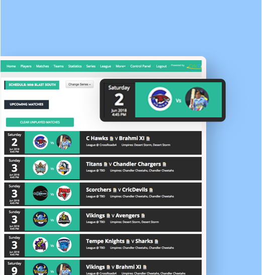 league management dashboard homepage